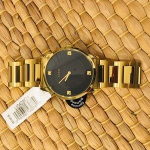 Gold Guess Men's Watch w/ Tags & Genuine Diamond